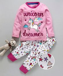 Lazy Shark Unicorn Print Full Sleeves Night Suit - Pink