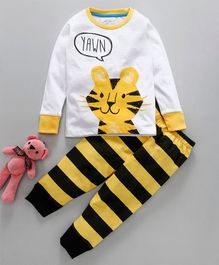 Lazy Shark Tiger Print Full Sleeves Night Suit - White & Yellow