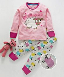 Lazy Shark Sheep Print Full Sleeves Night Suit - Pink