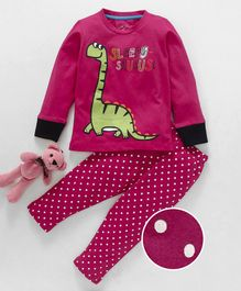 Lazy Shark Dinosaur Print Full Sleeves Night Suit - Pink