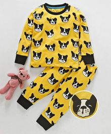 Lazy Shark Dog Print Night Suit - Yellow