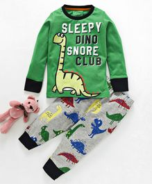 Lazy Shark Dinosaur Print Night Suit - Green