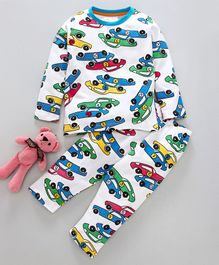 Lazy Shark Cars Printed Full Sleeves Night Suit - White