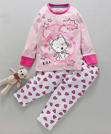 Lazy Shark Dog Printed Full Sleeves Night Suit - Pink