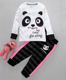 Lazy Shark Panda Face Print Full Sleeves Night Suit - White