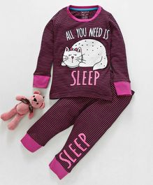 Lazy Shark Striped & Cat Print Night Suit - Pink