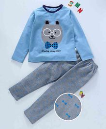 Kai Kai Animal Face Print Night Suit - Blue
