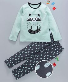 Kai Kai Owl Print Night Suit - Green
