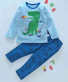 Kai Kai Dino & Car Print Night Suit - Blue