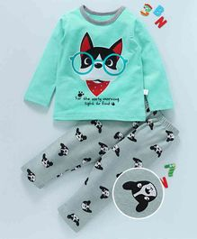 Kai Kai Dog Wearing Glasses Print Night Suit - Green