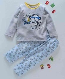 Kai Kai Monkey Print Night Suit - Grey