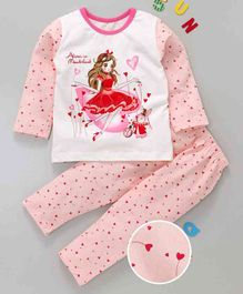 Kai Kai Girl & Heart Print Night Suit - Peach