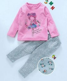 Kai Kai Flower Girl Print Night Suit - Pink