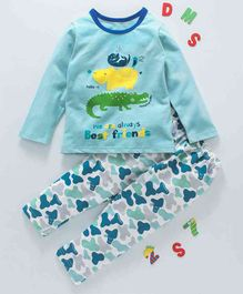 Kai Kai Animal Best Friends Print Night Suit - Blue