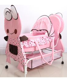Babyhug Froggy Print Cradle With Mosquito Net and Swing Lock function - Pink