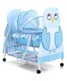 Babyhug Owl Print With Mosquito Net and Swing Lock function - Blue