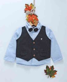ZY Baby Full Sleeves Shirt With Striped Mock Waistcoat & Bow - Blue