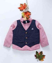 ZY Baby Striped Full Sleeves Shirt With Polka Dot Mock Waistcoat & Bow - Pink