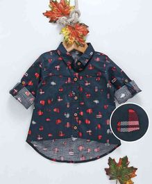 ZY Baby Heart Print Full Sleeves Shirt - Navy