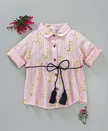 ZY Baby Giraffe Print Full Sleeves Dress - Pink
