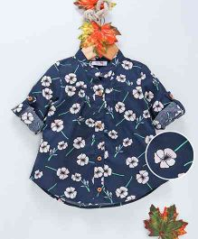 ZY Baby Flower Print Full Sleeves Shirt - Navy