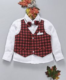 OB Baoney Full Sleeves Shirt With Checked Waistcoat & Bow - Red