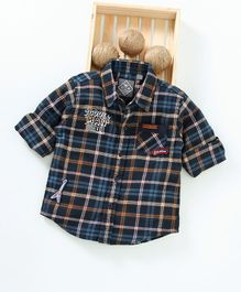 Palm Tree Full Sleeves Checked Shirt - Navy Blue
