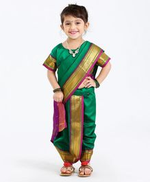Bhartiya Half Sleeves Blouse And Nauvari Saree - Green