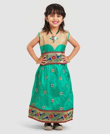 Bhartiya Paridhan Sleeveless Choli And Lehenga Floral Embroidery - Green Golden