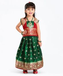 Bhartiya Paridhan Short Sleeves Choli And Pleated Lehenga Floral Embroidery - Green Red