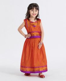 Bhartiya Paridhan Short Sleeves Choli And Pleated Lehenga - Orange