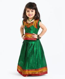 Bhartiya Paridhan Short Sleeves Choli And Pleated Lehenga - Green
