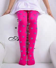 Flaunt Chic Thigh Length Stockings Hearts Design - Pink