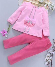 ToffyHouse Tee and Corduroy Pant Set Bow Motif - Light Pink