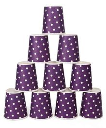 B Vishal Polka Dots Paper Cups Violet - Pack of 10