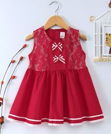 Little Marie Bow Applique Sleeveless Dress - Red