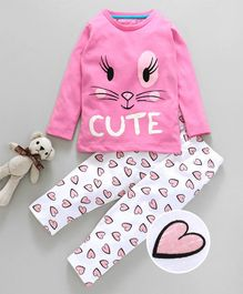 Lazy Shark Cute & Heart Printed Night Suit Set - Pink