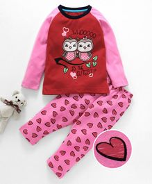 Lazy Shark Heart Printed Night Suit Set - Red & Pink