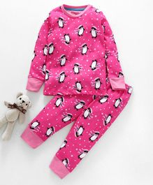 Lazy Shark Penguin Printed Night Suit Set - Pink