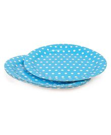 B Vishal Polka Dots Paper Plates Blue - Pack of 10