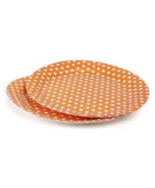 B Vishal Polka Dots Paper Plates Orange - Pack of 10