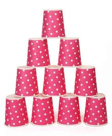 B Vishal Polka Dots Paper Cups Pink - Pack of 10