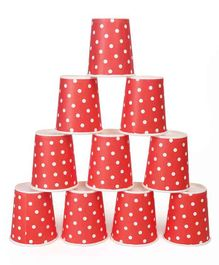 B Vishal Polka Dots Paper Cups Orange - Pack of 10