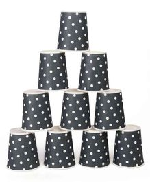 B Vishal Polka Dots Paper Cups Grey - Pack of 10