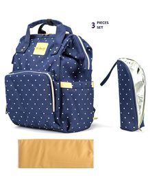 T-Bags Diaper Backpack With Bottle Holder & Changing Mat Dot Print - Navy Blue