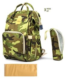 T-Bags Diaper Backpack With Bottle Holder & Changing Mat Camouflage Design - Dark Green