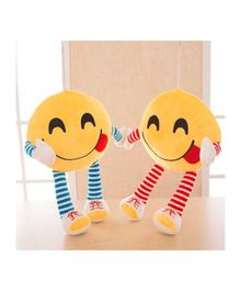 Frantic Smiley Plush Cushion With Stripe Hands And Legs Pack of 2 - Yellow