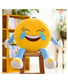 Frantic Laughing Plush Cushion With Stripe Hands And Legs - Yellow
