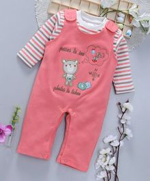 ToffyHouse Dungaree Style Romper With Stripe Tee Bear Embroidery - Peach White