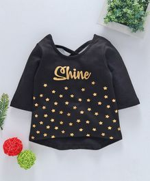 Babyhug Three Fourth Sleeves Tee Star Print - Black